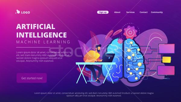 Sztuczna inteligencja wektora lądowanie strona mózgu cyfrowe Zdjęcia stock © RAStudio