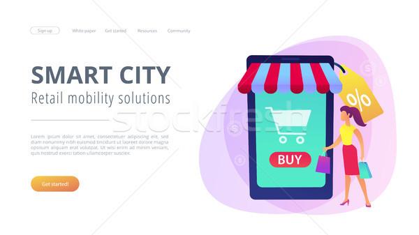 Smart retail in smart city concept illustration. Stock photo © RAStudio