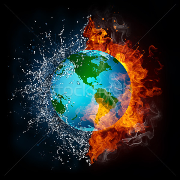 Globe in Flame and Water Stock photo © RAStudio