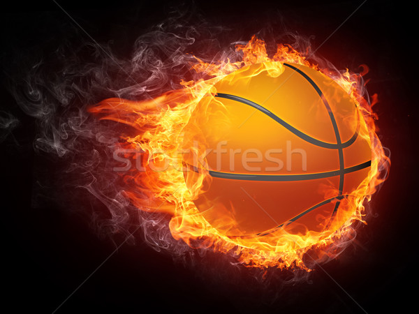 Basket balle feu graphiques ordinateur design Photo stock © RAStudio