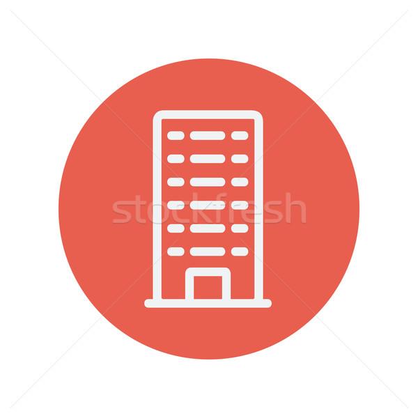 Prédio comercial fino linha ícone teia móvel Foto stock © RAStudio