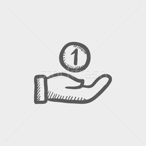 Hand and one coin sketch icon Stock photo © RAStudio