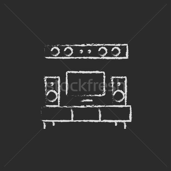 テレビ フラットスクリーン ホーム 劇場 アイコン ストックフォト © RAStudio