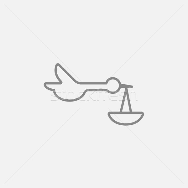 Baby basket cicogna line icona web Foto d'archivio © RAStudio