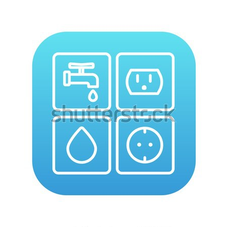 Utilities signs electricity and water line icon. Stock photo © RAStudio