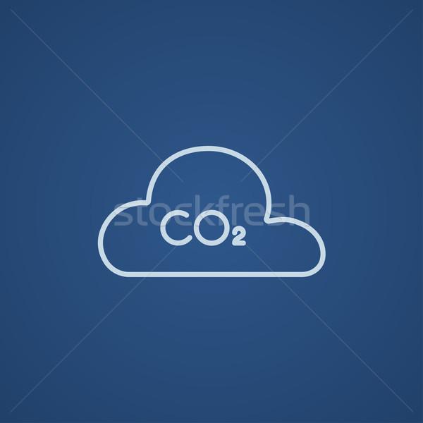 CO2 sign in cloud line icon. Stock photo © RAStudio
