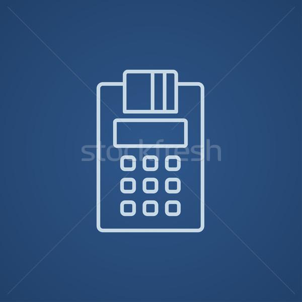 Pénztárgép vonal ikon háló mobil infografika Stock fotó © RAStudio