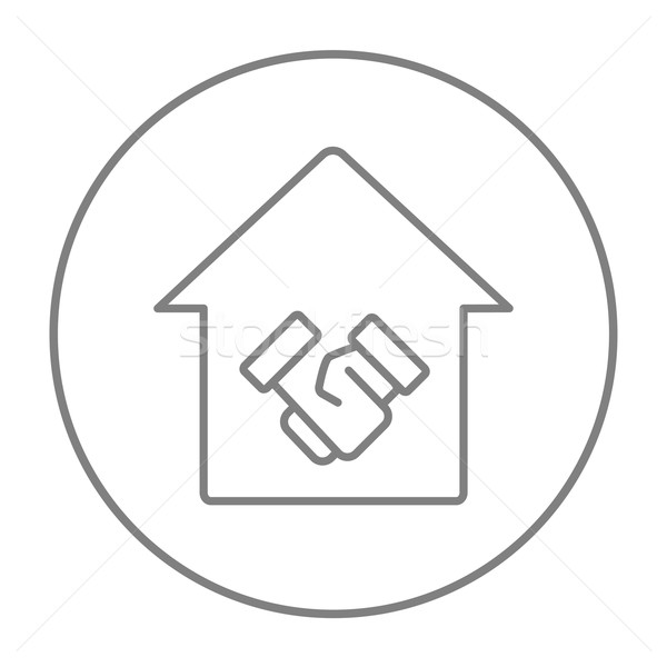 Handshake and successful real estate transaction line icon. Stock photo © RAStudio