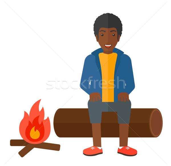 Foto stock: Homem · sessão · acampamento · fogo · vetor · projeto