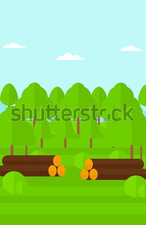 Background of the forest with piles of logs. Stock photo © RAStudio