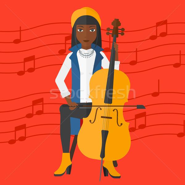 Kadın oynama viyolonsel kırmızı müzik notaları vektör Stok fotoğraf © RAStudio