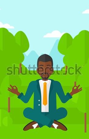 человека играет Фрисби зеленый газона деревья Сток-фото © RAStudio