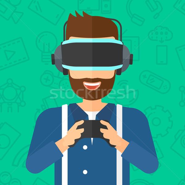 человека виртуальный реальность гарнитура Сток-фото © RAStudio