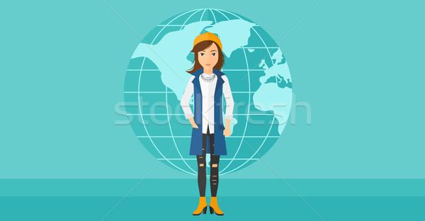 Femme d'affaires permanent monde réussi bleu terre Photo stock © RAStudio