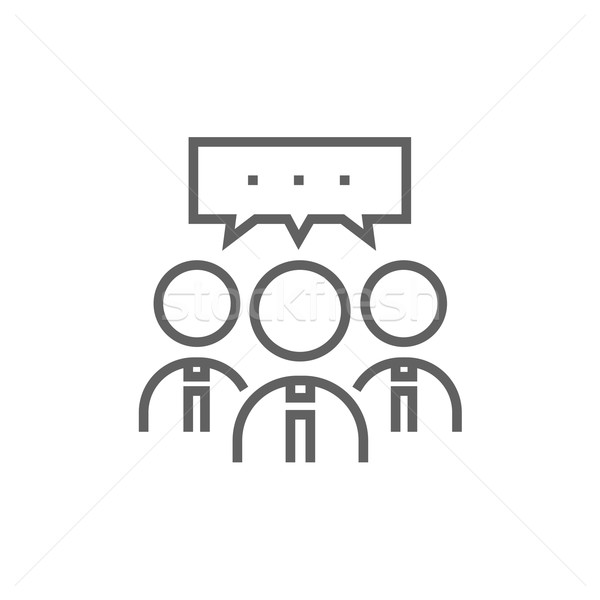 People with speech square above their heads line icon. Stock photo © RAStudio