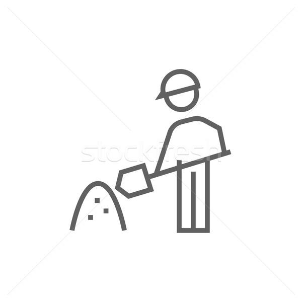 Man schop heuvel zand lijn icon Stockfoto © RAStudio