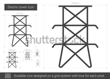 Elektrische toren lijn icon hoeken web Stockfoto © RAStudio