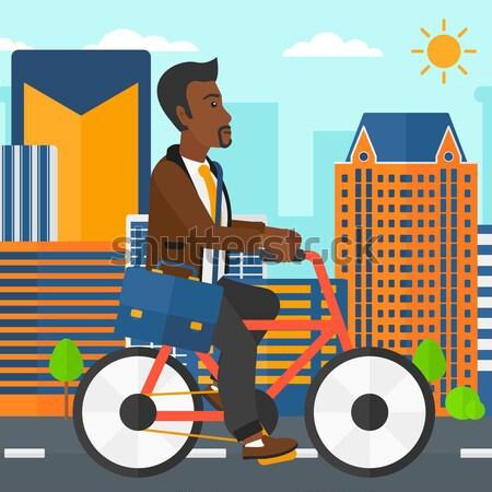 Człowiek rowerowe pracy asian teczki miasta Zdjęcia stock © RAStudio