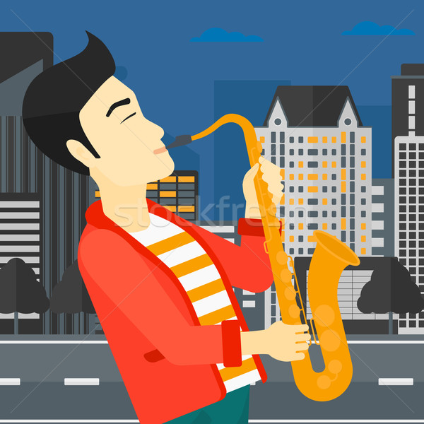 Musician playing saxophone. Stock photo © RAStudio