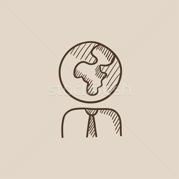 Stock photo: Human with globe head sketch icon.