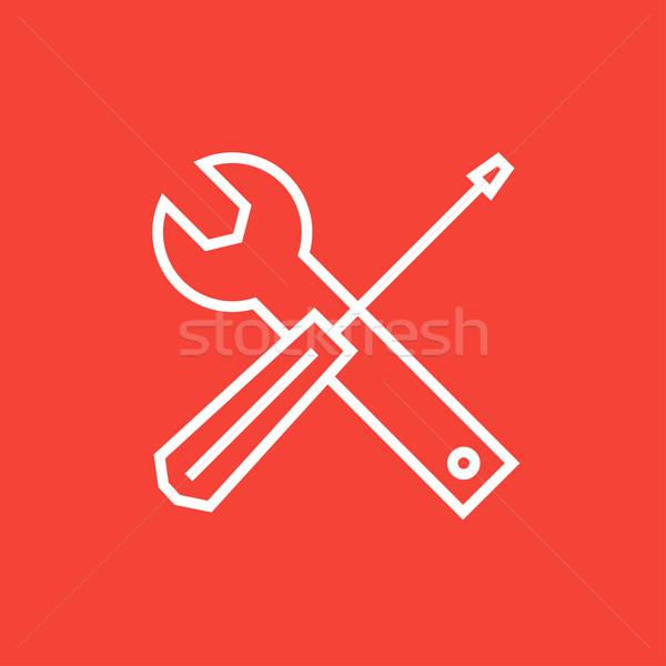 Cacciavite chiave strumenti line icona angoli Foto d'archivio © RAStudio