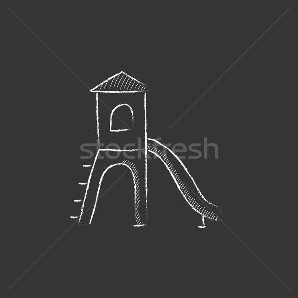 Aire de jeux slide craie icône dessinés à la main Photo stock © RAStudio
