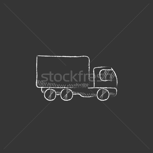 Camion de livraison craie icône dessinés à la main vecteur Photo stock © RAStudio