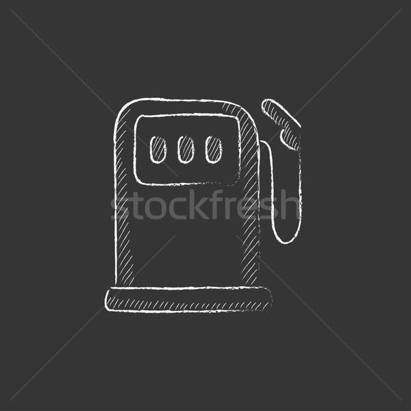 Tankstation krijt icon vector Stockfoto © RAStudio