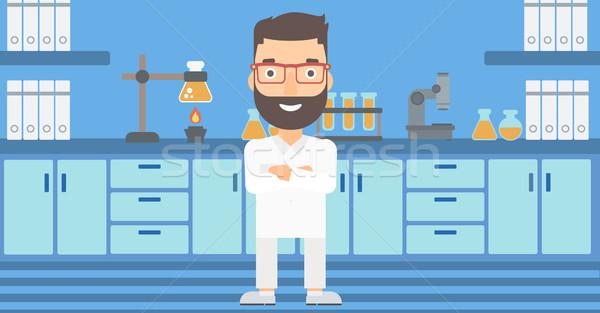 Masculino laboratório assistente homem barba Foto stock © RAStudio
