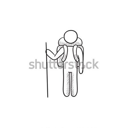 Empresário em pé esboço ícone vetor isolado Foto stock © RAStudio