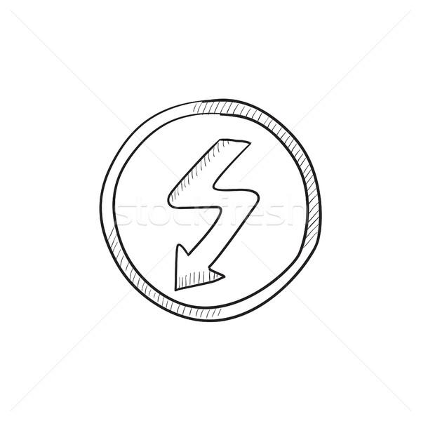 Bliksem pijl schets icon vector geïsoleerd Stockfoto © RAStudio