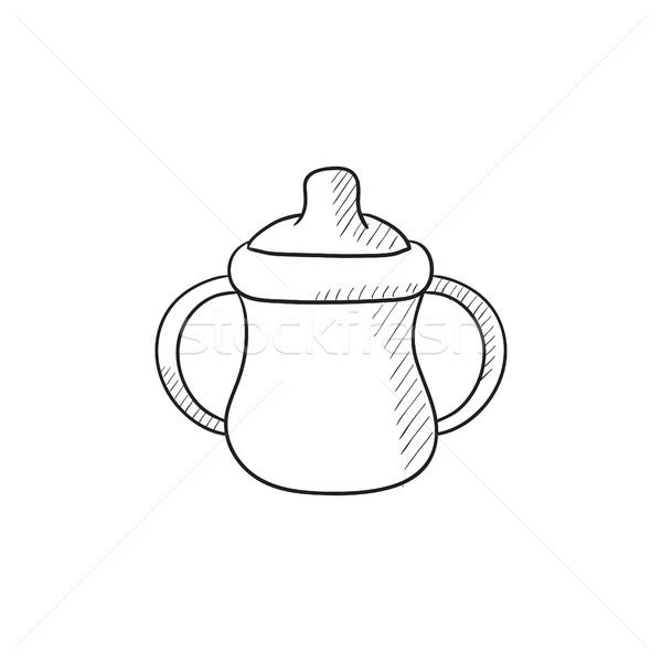 Baby fles schets icon vector geïsoleerd Stockfoto © RAStudio