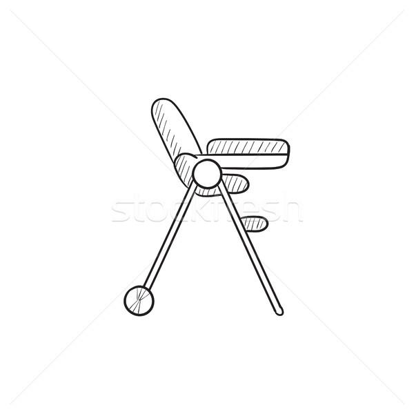 Baby chair for feeding sketch icon. Stock photo © RAStudio