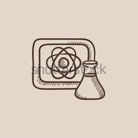 Atom felirat rajzolt tábla flaska rajz Stock fotó © RAStudio