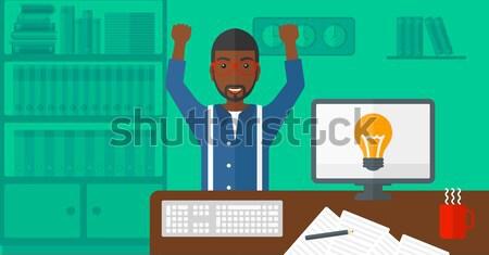 成功した ビジネスマン 背面図 挙手 座って 職場 ストックフォト © RAStudio