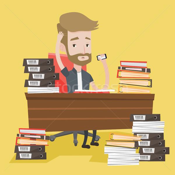 Rozpacz człowiek pracy biuro przepracowany Zdjęcia stock © RAStudio