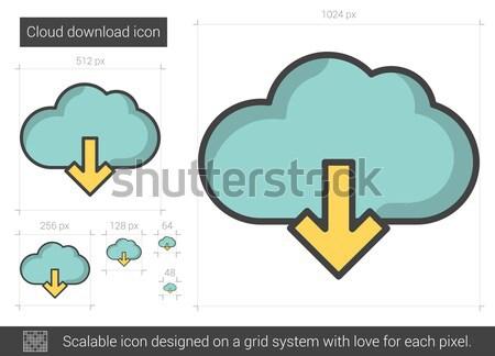 Chmura pobrania line ikona wektora odizolowany Zdjęcia stock © RAStudio