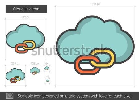 Felhő láncszem vonal ikon vektor izolált Stock fotó © RAStudio