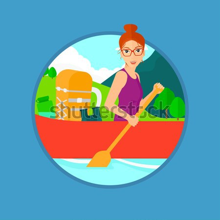 Woman riding in kayak vector illustration. Stock photo © RAStudio