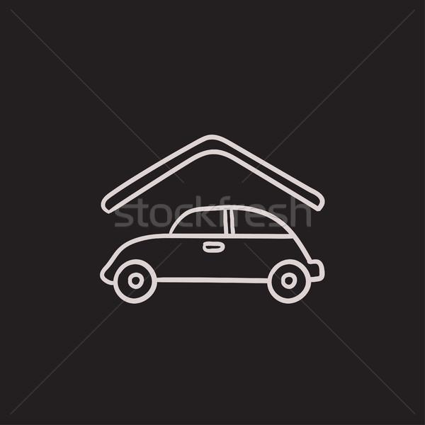 автомобилей гаража эскиз икона вектора изолированный Сток-фото © RAStudio