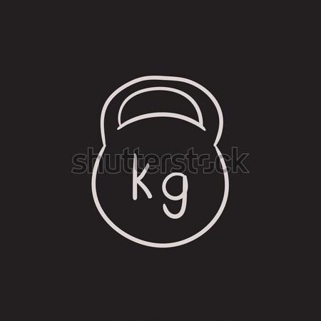гири эскиз икона вектора изолированный рисованной Сток-фото © RAStudio