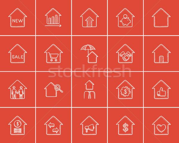 Stock photo: Real estate sketch icon set.