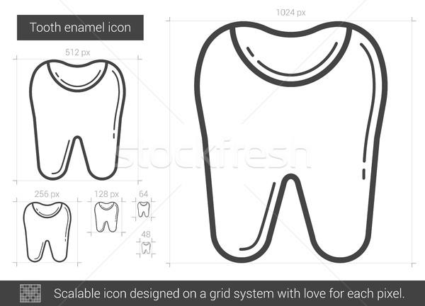 Diş emaye hat ikon vektör yalıtılmış Stok fotoğraf © RAStudio