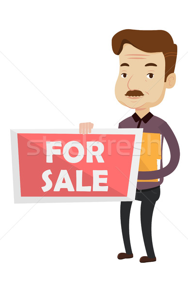 Agent immobilier offrant maison permanent documents vente Photo stock © RAStudio