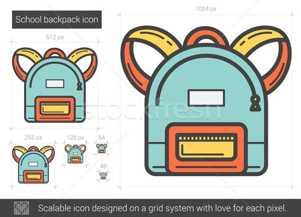 Iskola hátizsák vonal ikon vektor izolált Stock fotó © RAStudio