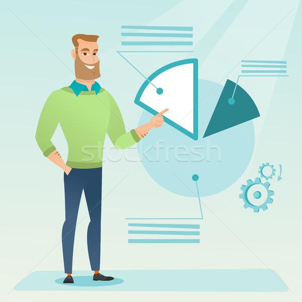 üzletember mutat kördiagram kaukázusi bemutató magyaráz Stock fotó © RAStudio
