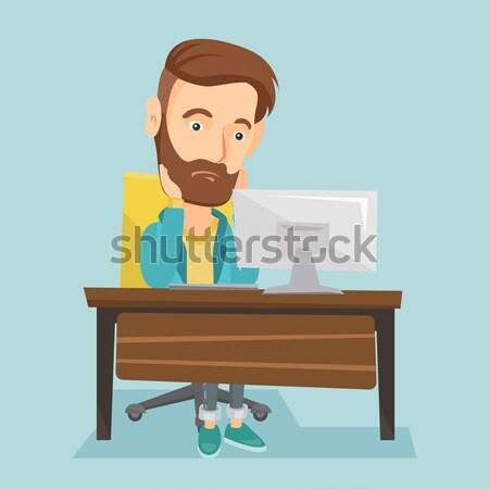 Bitkin üzücü işçi çalışma ofis oturma Stok fotoğraf © RAStudio