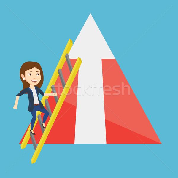 商业照片 / 矢量图: 商界女强人 · 攀登 · 山 · 年轻 · 阶梯