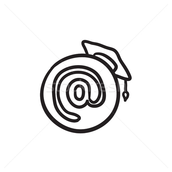 Graduation cap with at sign sketch icon. Stock photo © RAStudio