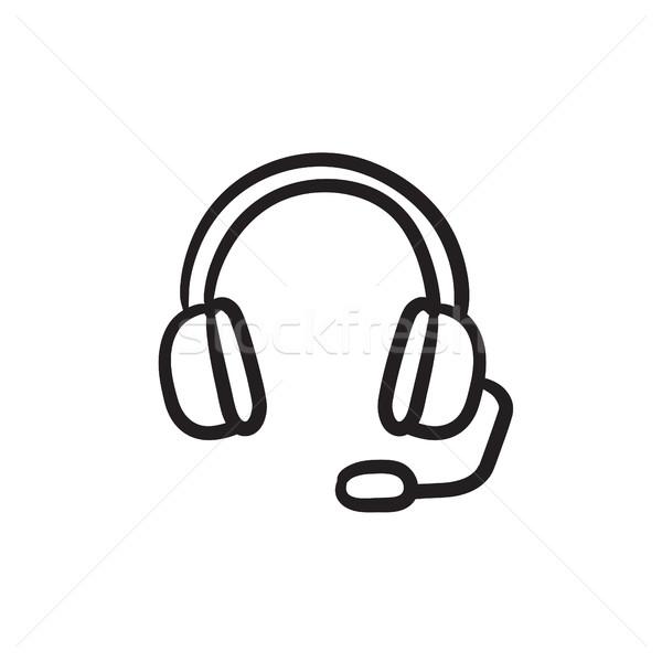 Stockfoto: Hoofdtelefoon · microfoon · schets · icon · vector · geïsoleerd